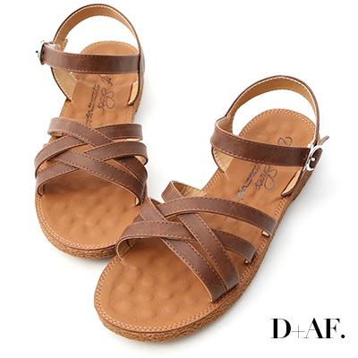 D+AF 話題新作.交叉設計平底編織涼鞋*棕