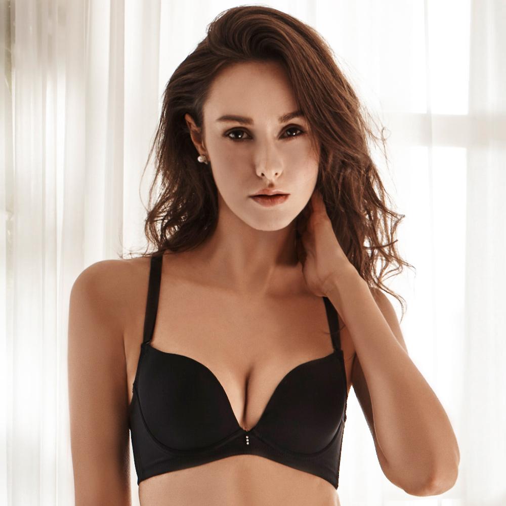 LADY 秘密情人系列 蕾絲素面無痕內衣B-E罩( 搖滾黑 )