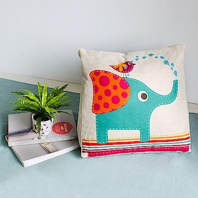 【收納職人】Zakka日系雜貨風棉麻織紋舒壓三角抱枕/靠枕/腿枕(可愛大象)