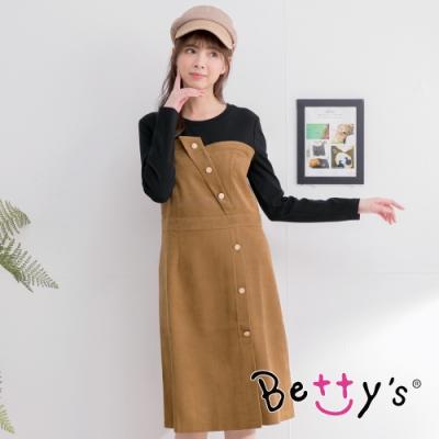 betty's貝蒂思 飾釦拼色長洋裝  (駝色)