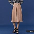 【KiKi】時尚繫腰造型七分-褲裙(卡色)
