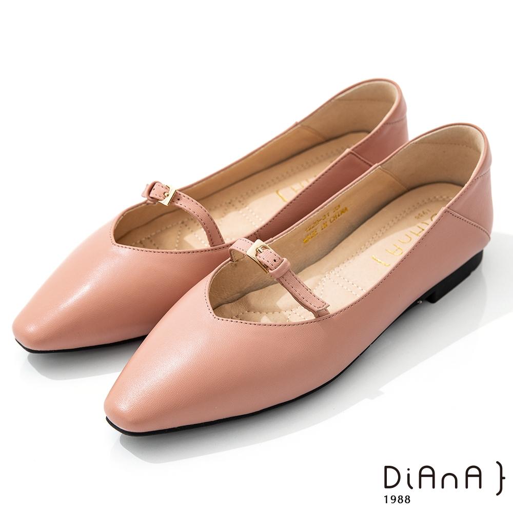 DIANA 1.7cm質感羊皮小皮帶釦飾方尖頭瑪麗珍娃娃鞋-簡約優雅-粉