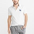 A&F 經典電繡大麋鹿短袖Polo衫-白色 AF Abercrombie