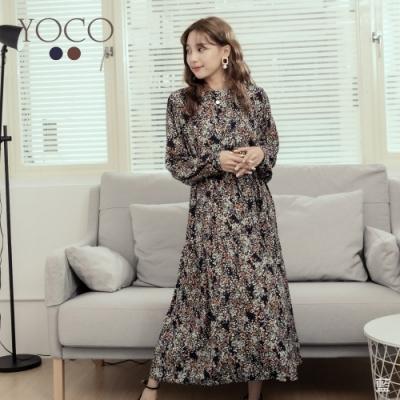 東京著衣-YOCO 復古秋意碎花雪紡附綁帶長洋裝(共二色)