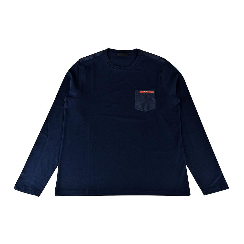 PRADA經典橡膠LOGO拼接口袋純棉長袖T恤(午夜藍) @ Y!購物