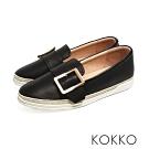KOKKO - 香格里拉麻繩方扣真皮厚底懶人鞋-經典黑