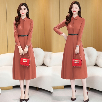 【韓國K.W.】(預購)V領腰束口雪紡時尚洋裝-3色