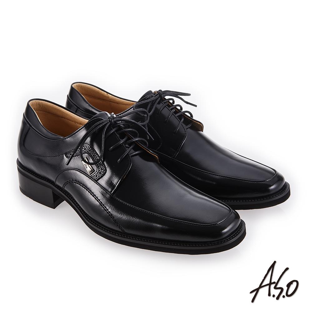 A.S.O 勁步雙核心 柔軟鞋面真皮鞋 黑