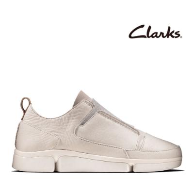 Clarks 運動行風 異材質拼接不對稱感懶人鞋 白色