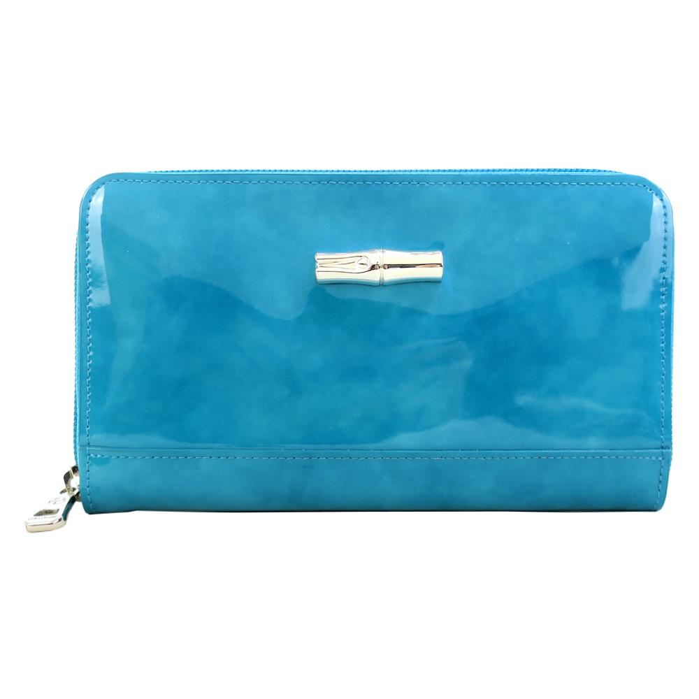 Longchamp Roseau竹節漆皮拉鍊長夾-水藍色LONGCHAMP
