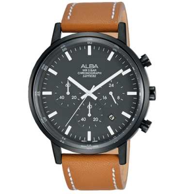 ALBA 雅柏日系三眼計時男錶皮錶42mm(AT3D37X1/VD53-X296J)