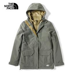 The North Face北面女款綠色防水保暖戶外三合一外套|3VUE21L