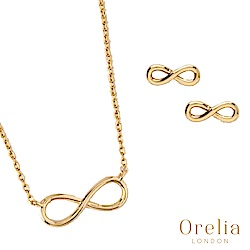 Orelia 英國倫敦 經典無限鍍金耳環項鍊套組