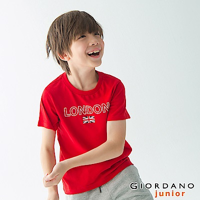 GIORDANO 童裝UNION JACK系列短袖T恤-09 高貴紅