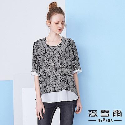 【麥雪爾】黑白花紋五分袖雪紡上衣