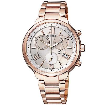 CITIZEN XC 甜美氣質鈦金屬女腕錶/銀白x玫瑰金(FB1332-50A)