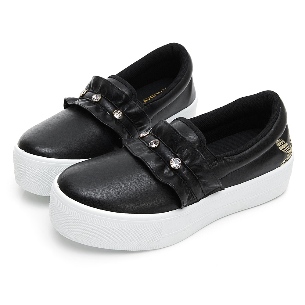 PLAYBOY 浪漫荷葉邊厚底休閒鞋-黑-Y5707CC