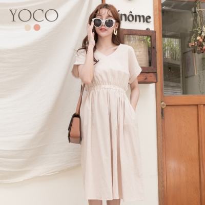 東京著衣-YOCO 甜蜜優雅高含棉V領腰鬆緊棉麻洋裝-S.M.L(共二色)