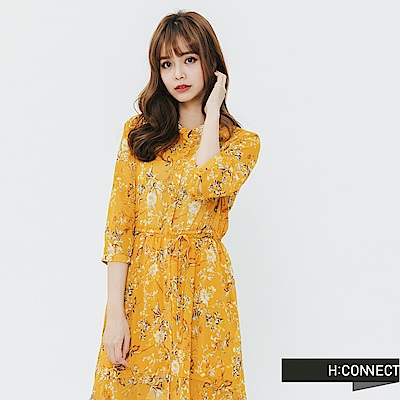 H:CONNECT 韓國品牌 女裝-飄逸感碎花綁帶洋裝-黃