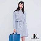 iK直條紋排釦腰綁帶長版襯衫上衣