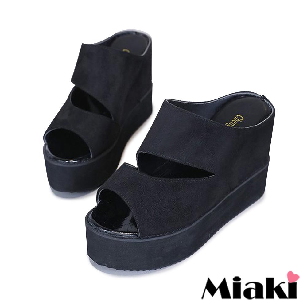 Miaki-楔型鞋韓妞時尚厚底拖鞋-黑