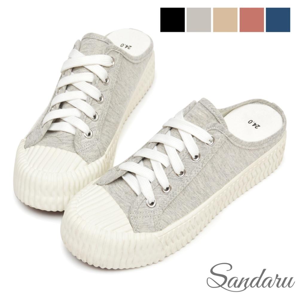 山打努SANDARU-穆勒鞋 MIT微增高帆布餅乾鞋拖鞋-灰