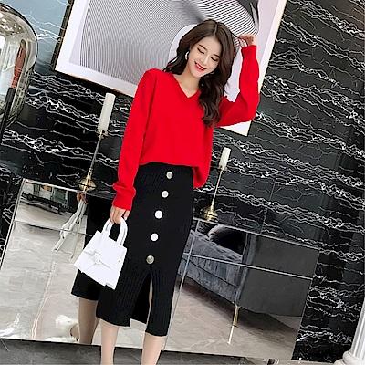 DABI 韓國風時尚針織衫排扣長袖上衣 @ Y!購物