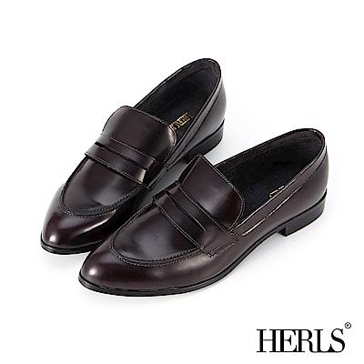 HERLS 紳士步調 全真皮素面尖頭樂福鞋-酒紅色