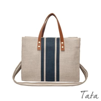拼接寬帶帆布包 TATA