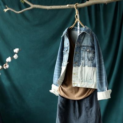 個性撞色拼接毛邊破洞純棉牛仔外套短版上衣-設計所在