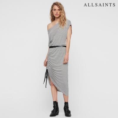 ALLSAINTS BREA 休閒輕質條紋抽繩中長版短袖連身裙洋裝-墨藍條
