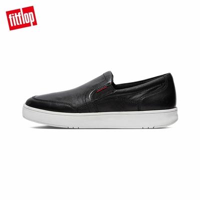 【FitFlop】RALLY X LEATHER SLIP-ON SKATES 易穿脫休閒鞋-男(靓黑色)
