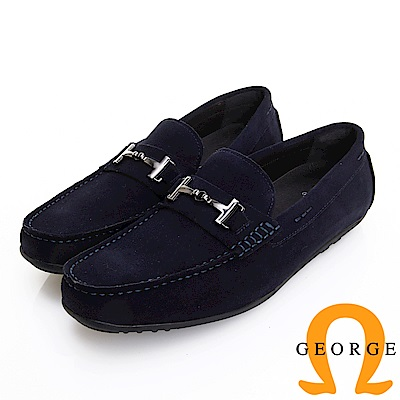 GEORGE 喬治皮鞋 經典系列 質感飾釦麂皮樂福鞋-藍