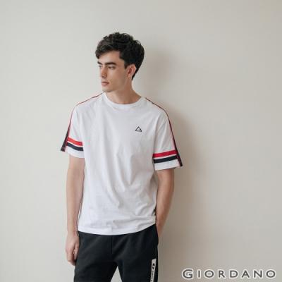 GIORDANO 男裝G-MOTION拼接織帶撞色短袖T恤 -05 標誌白