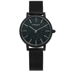 ARIES GOLD 璀璨星空 藍寶石水晶玻璃 米蘭編織不鏽鋼手錶-鍍黑/32mm