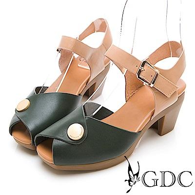 GDC-真皮日雜小金扣典雅魚口中跟涼鞋-綠色