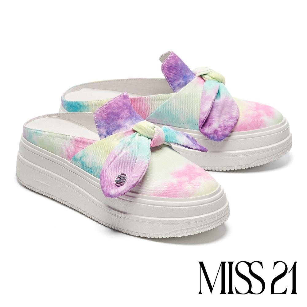 拖鞋 MISS 21 街頭時髦蝴蝶扭結穆勒厚底拖鞋-粉