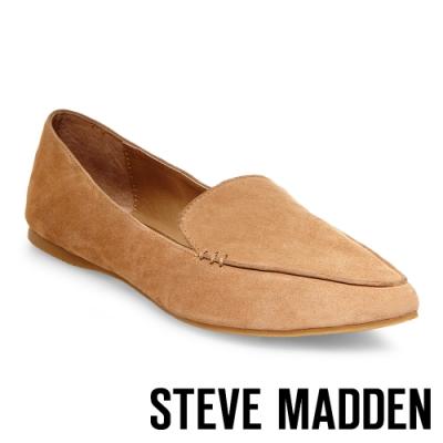 STEVE MADDEN-FEATHER 城市雅痞感真皮尖頭平底鞋-絨棕色