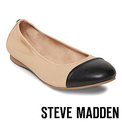 STEVE MADDEN-BABETTE撞色圓頭平底鞋-米色