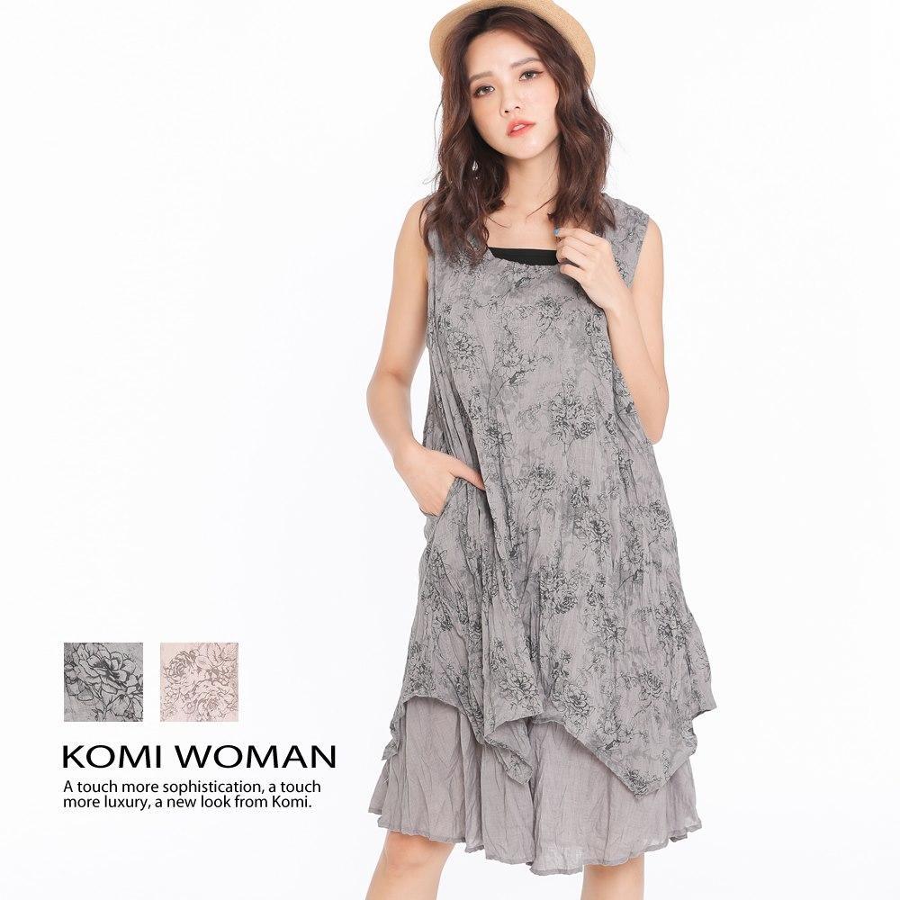【KOMI】純棉花朵綁染雙層口袋洋裝‧二色