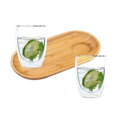 英國 WILMAX 長圓形竹製杯墊置物托盤/輕食盤附雙層隔冰耐熱玻璃杯200ML2入組