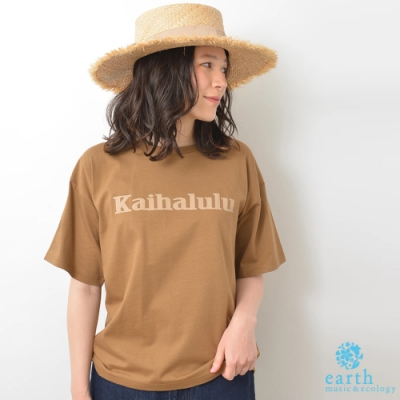 earth music 標語打印有機棉落肩T恤