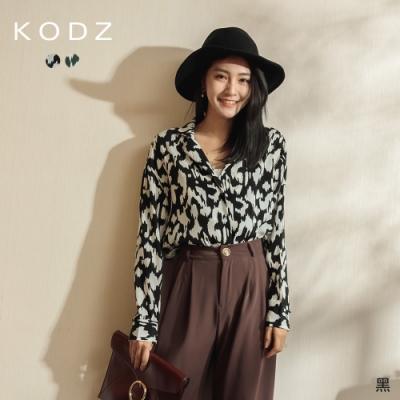 東京著衣-KODZ 時尚奢華豹紋排釦襯衫上衣(共二色)