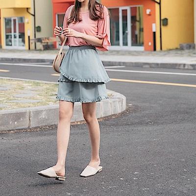 造型層次感荷葉拼接傘襬短裙-OB大尺碼