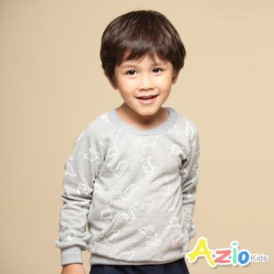 Azio Kids 男童 上衣 滿版框線恐龍前口袋長袖上衣T恤(灰)