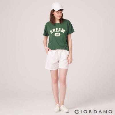 GIORDANO 女裝棉麻抽繩休閒短褲-01 標誌白