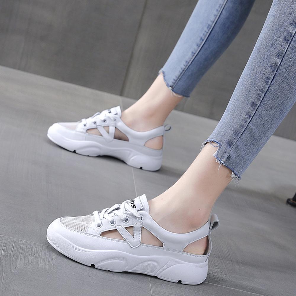LN  現+預 韓版側邊簍空透氣小白鞋(休閒鞋/平板鞋) (白色)