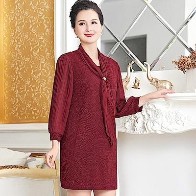 絲巾領百褶雪紡洋裝-XL~5XL(共二色)-理子時尚 @ Y!購物