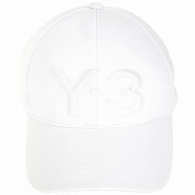 Y-<b>3</b> LOGO刺繡設計白色彈性纖維棒球帽