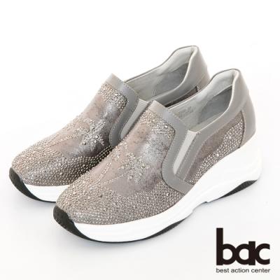 【bac】休閒享樂厚底椰子樹鑽飾懶人休閒鞋-灰
